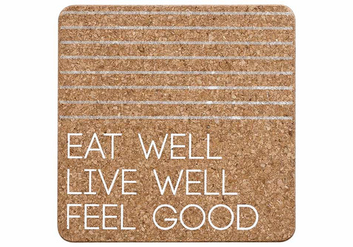 Ladelle Eat Well Collection - Cork Trivet -White (LD 80092)