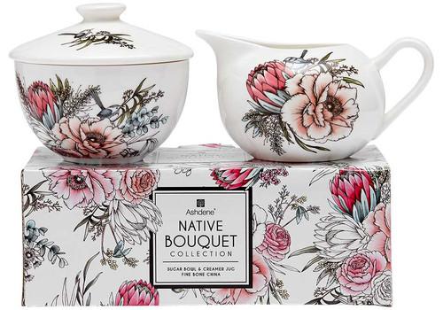 Ashdene Native Bouquet Collection - Fine Bone China Sugar & Creamer Set with Gift Box (AD 517244)