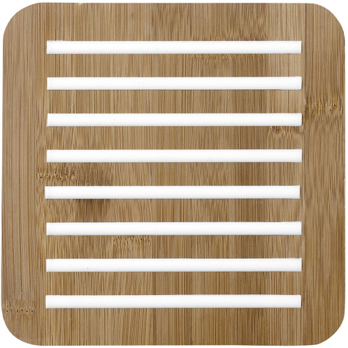 Ladelle Classic Collection - Bamboo and Silicone Trivet - White (LD 80055)