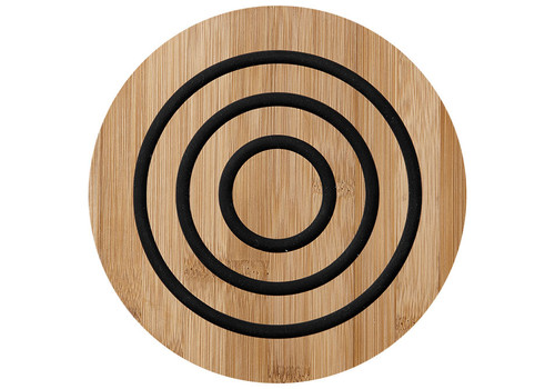 Ladelle Classic Collection - Bamboo and Silicone Round Trivet - Charcoal (LD 80054)