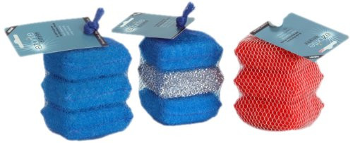 Ezbrite -Mini Scrubber Set - Blue, Silver - Set of 3 (EZ EB3MS-BSB)