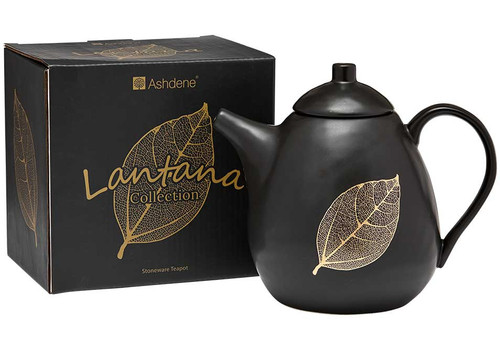 Ashdene Lantana Collection - Tea Pot - Black and Gold (AD 517201)