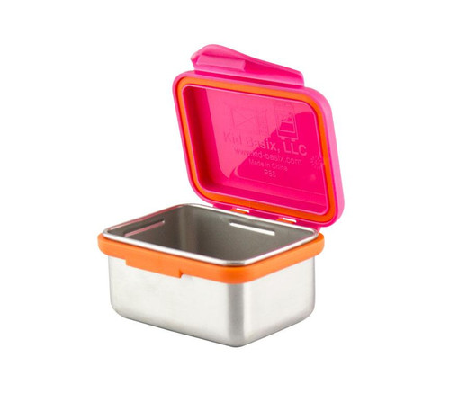 Kid Basix - Safe Snacker™ Stainless Steel Food Container with Attached Lid - 7 oz. - Fuchsia (NW 00296)