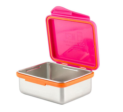 Kid Basix - Safe Snacker™ Stainless Steel Food Container with Attached Lid - 13 oz. - Fuchsia (NW 00292)