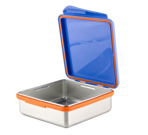 Kid Basix - Safe Snacker™ Stainless Steel Food Container with Attached Lid - 23 oz. - Blue (NW 00279)