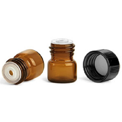 T.M.C. .33 dram Amber Glass Vials with Black Phenolic PV Lined Caps & Orifice Reducers - Set of 12 (TMC 4060-14P12)