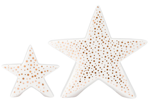 Ladelle Glitz Collection - White and Gold Star - 10 cm (4 in) (LD 73894)