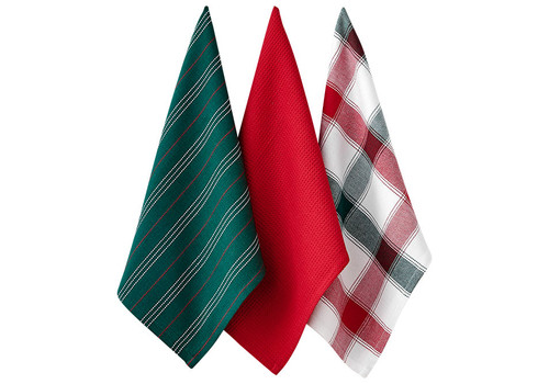 Ladelle Christmas Brick Collection - Kitchen Towel Set - Set of 3 - Green & Plaid (LD 73572 - 01)