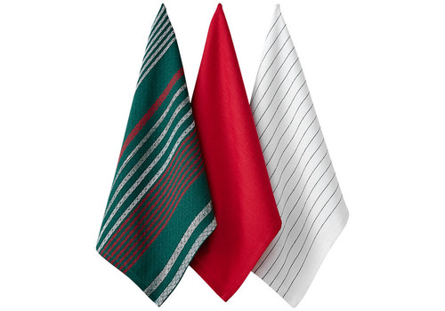 Ladelle Christmas Brick Collection - Kitchen Towel Set - Set of 3 - Green Stripe (LD 73572 - 02)