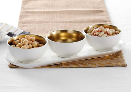 Ladelle Glitz Collection - 4 Piece Bowl Set - White and Gold (LD 73745)