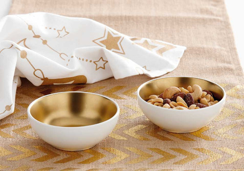 Ladelle Glitz Collection - 2 Piece Bowl Set - White and Gold (LD 73742)