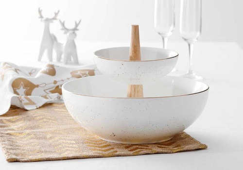 Ladelle Glitz Collection - Double Layer Serving Bowl - Speckle Gold (LD 73736)