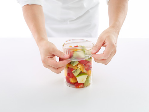 Stretch to fit on the bowl, jar or food.