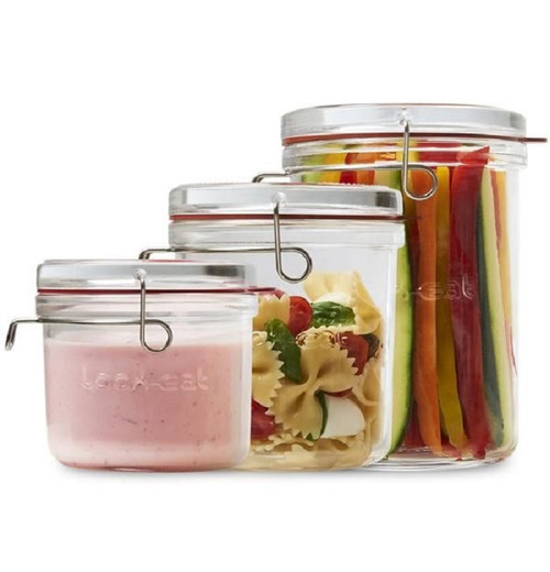 Luigi Bormioli Lock-Eat Collection - Frigo Food Jar Set - .5 L, .75L and 1L (LB 12400/01)