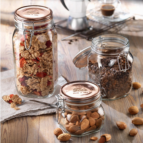 Bormioli Rocco Metallics Collection - Copper Fido Jars