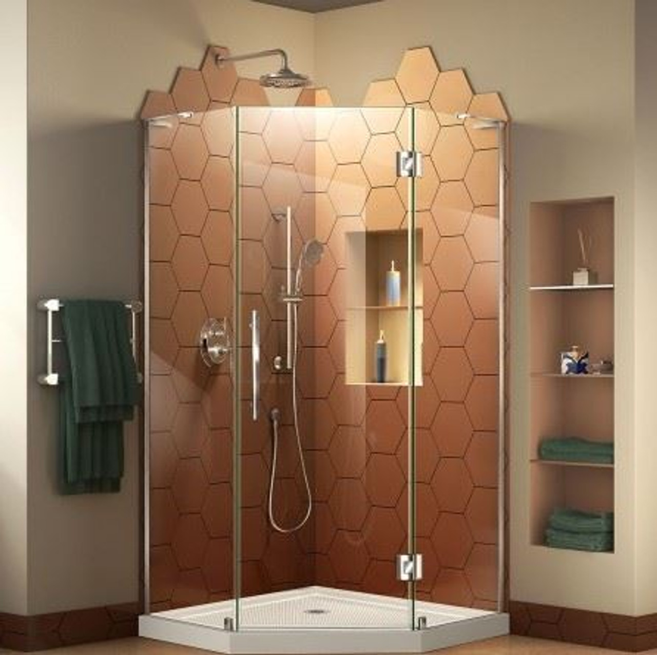Neoangle Shower Base Glass Enclosure Chrome 36 X 36