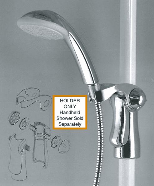 Handheld Shower Head Holder In Chrome For Grab Bars