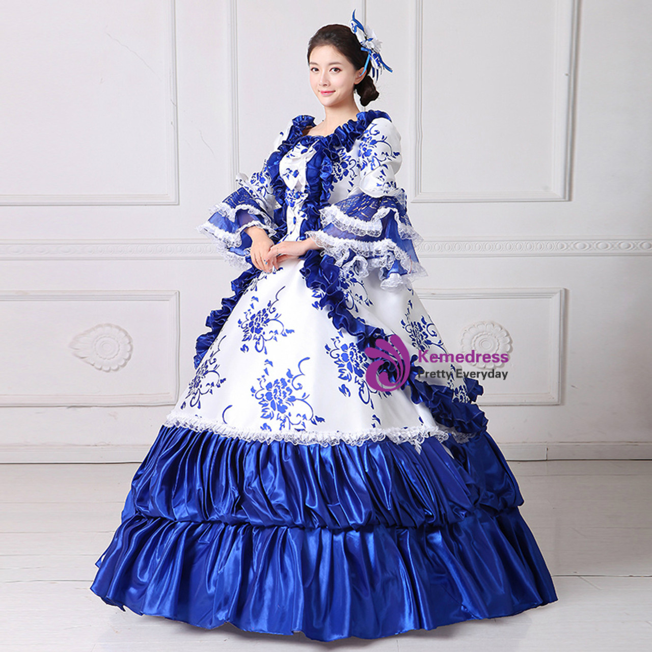 Blue White Ball Gown Puff Sleeve Print Drama Show Vintage Gown Dress