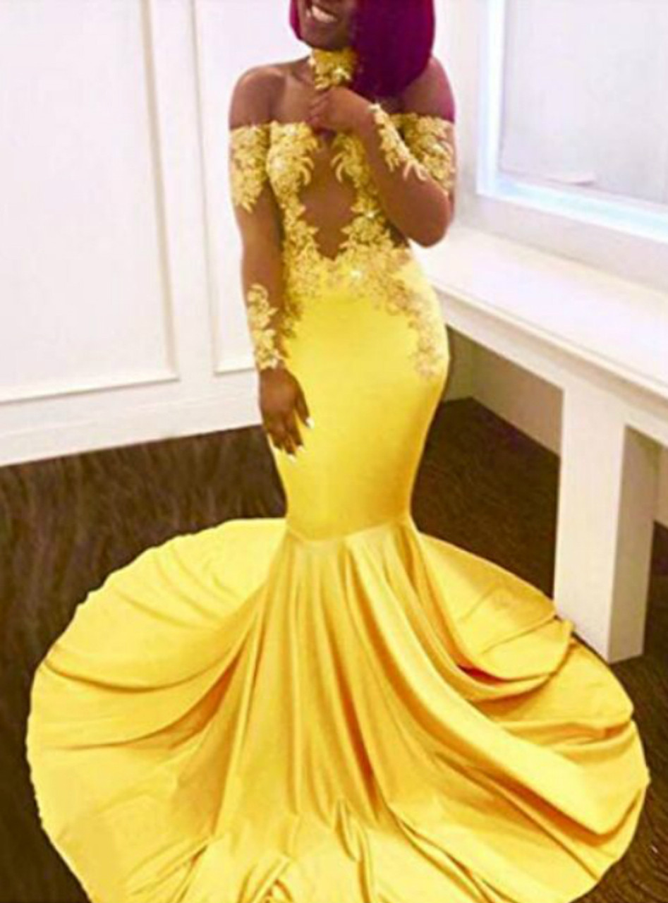a71cf6e84751 Yellow Mermaid Satin Off the Shoulder Long Sleeve Appliques Prom Dress