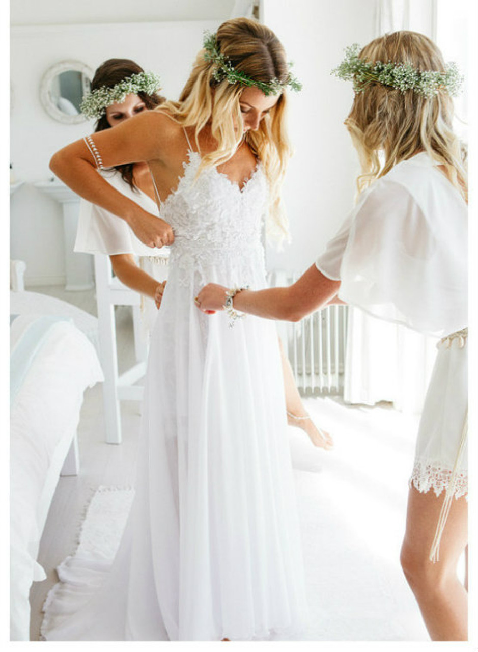 Modest Beach Wedding Dresses 2017 Open Back Outdoor Summer Weddings Dress,Best Dress For Wedding Guest
