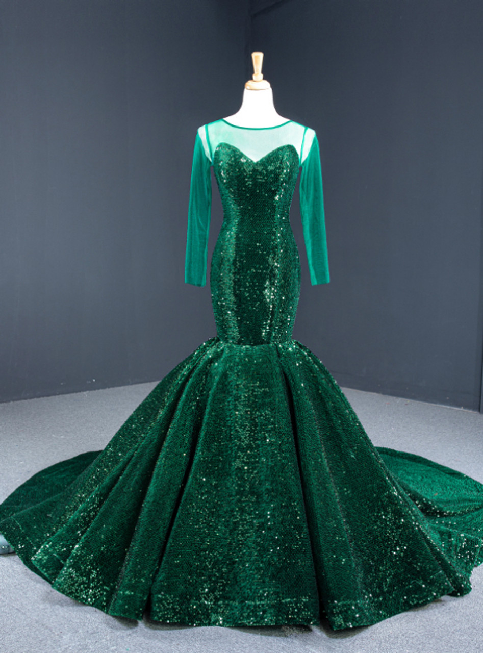 The Princesses Sequins Tops Collection Dark Green Mermaid GWEN