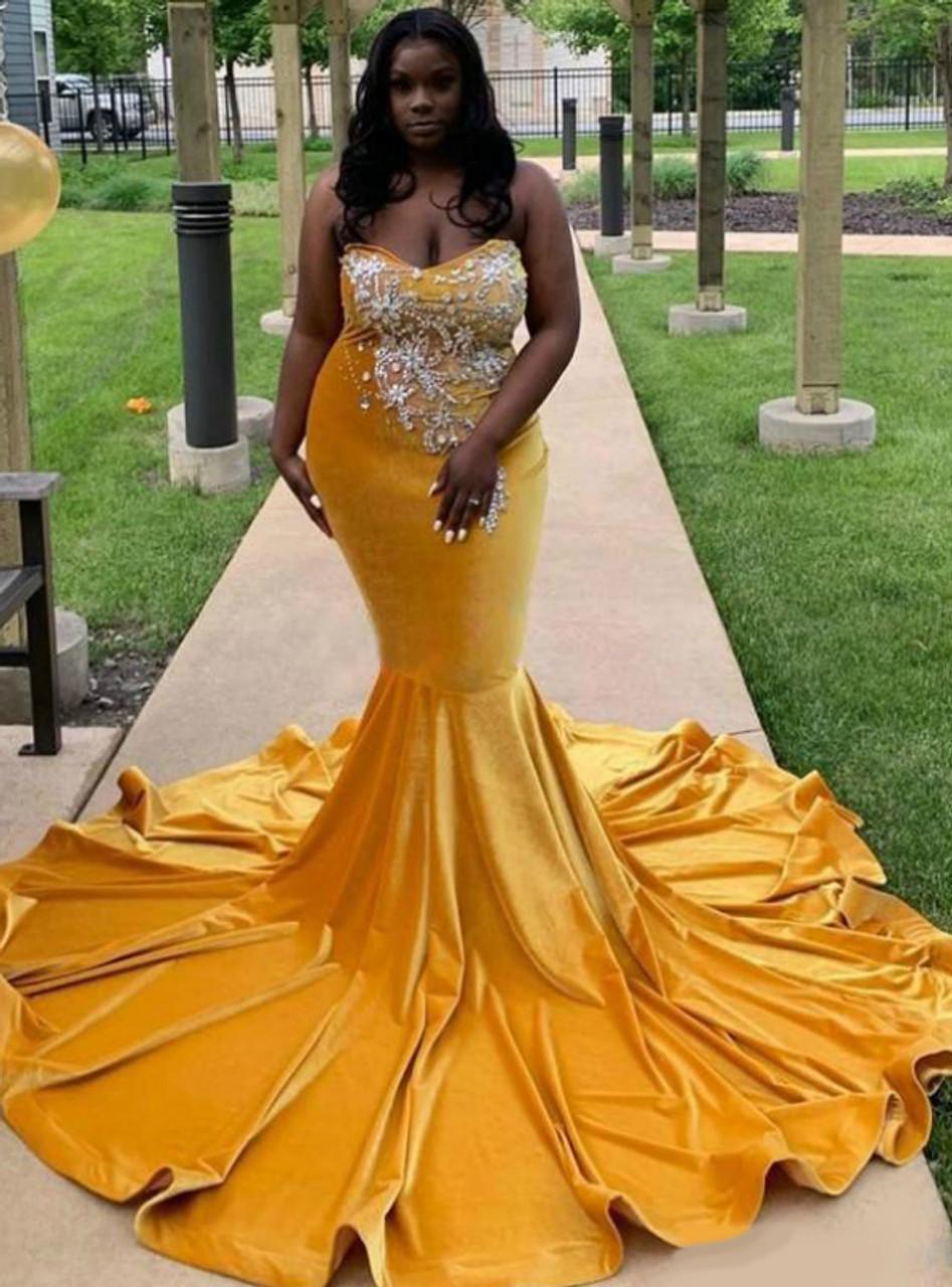 Wide Range Of Yellow Velvet Mermaid Sweetheart Beaded Long Prom Dress 2020