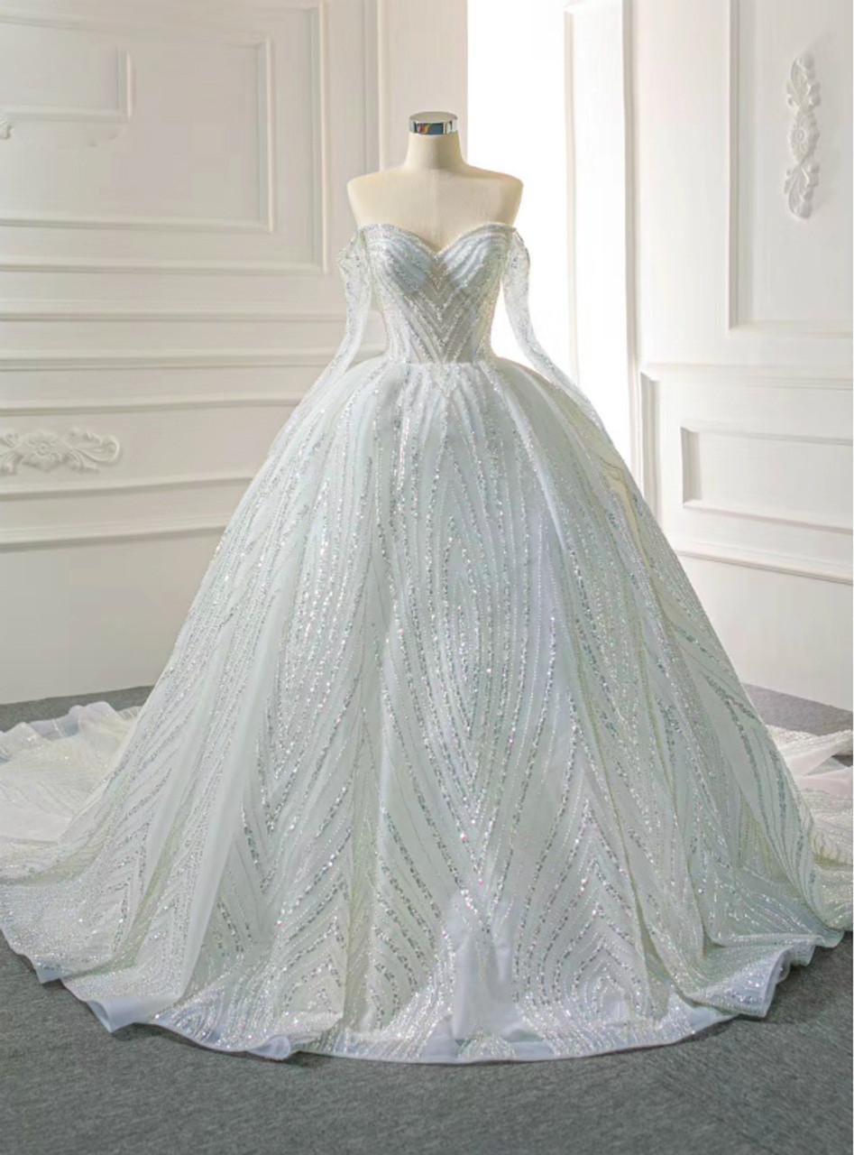 Shop Designer White Ball Gown Heavy Work Long Sleeve Tulle Sequins Wedding Dress 2020