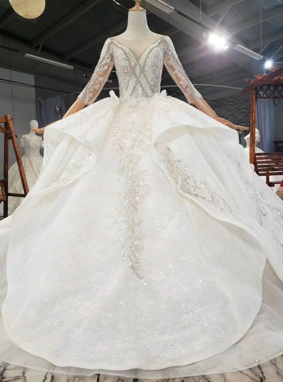 You Ll Always Remember Wearing Champagne Ball Gown Lace Sequins Long Sleeve Backless Wedding Dress,Ball Gown Wedding Dress Sparkle