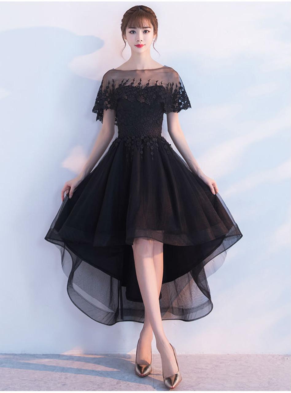 2017 New Elegant Black High Low Prom Dresses Whit Jacket