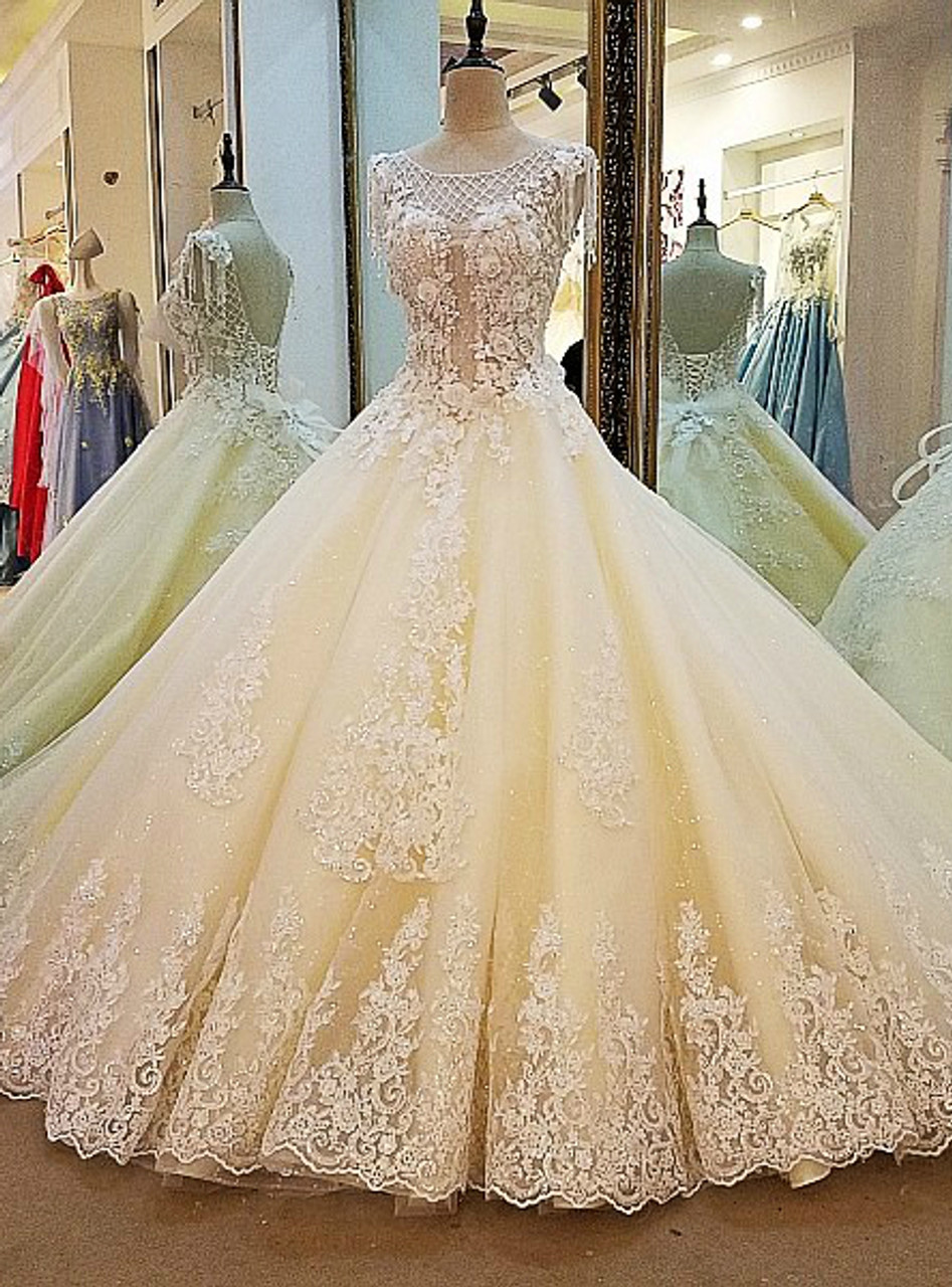 Champagne Wedding Dress Ball Gown Corset Back Beading Lace Bridal Gowns