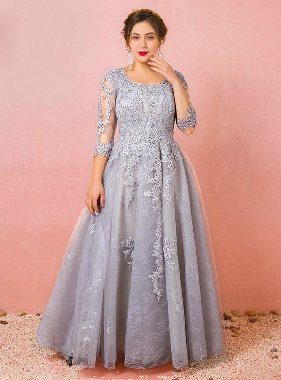 Plus Size Gray 3/4 Sleeve Tulle Appliques Prom Dress