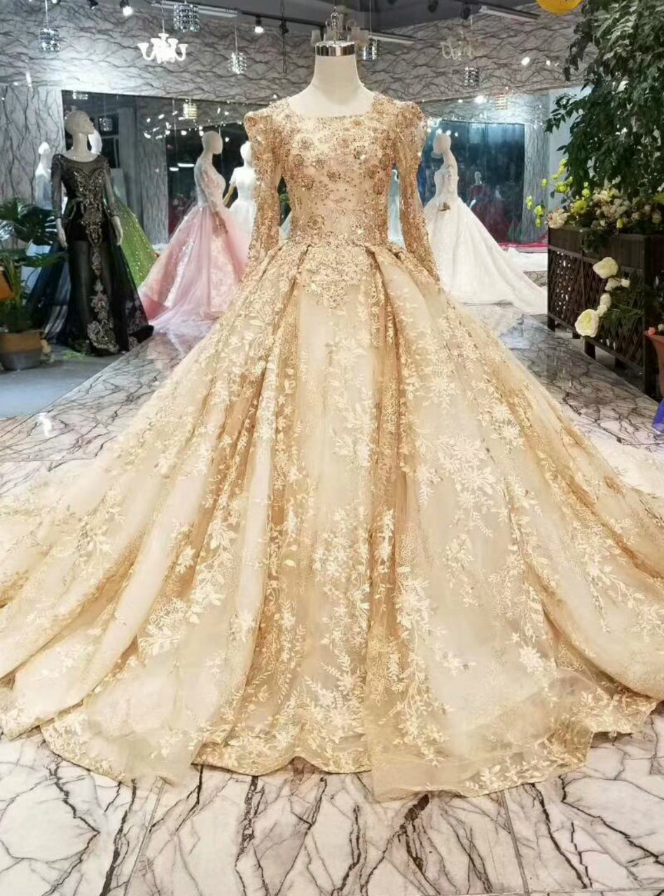 Champagne Gold Lace Ball Gown Long Sleeve Wedding Dress With Long Train