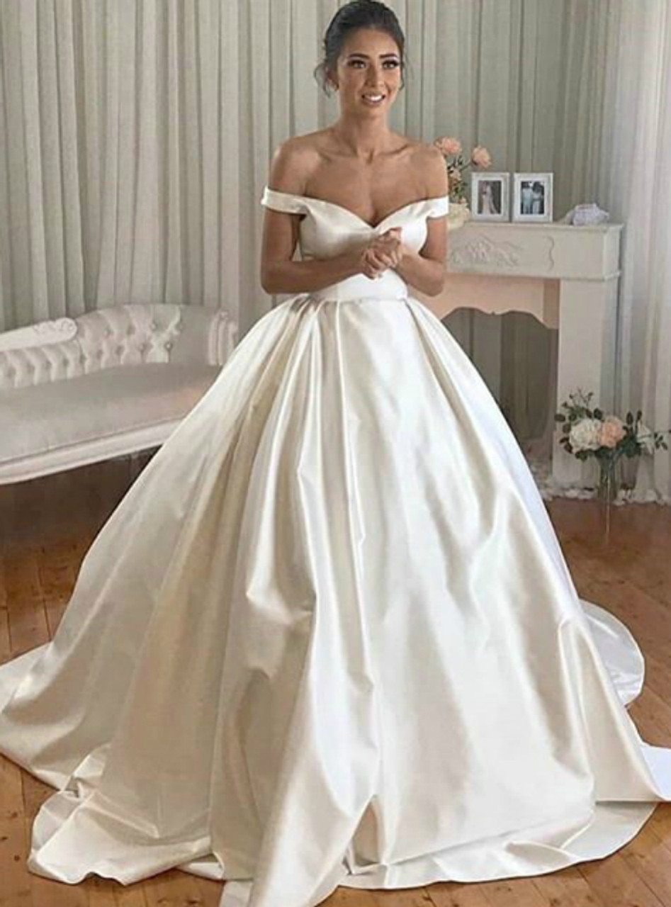 Elegant Satin Ball Gown Off The Shoulder Court Train Wedding Dresses