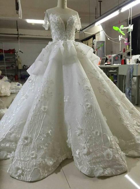 Real Photo Double V-Neck Organza short Wedding Dress 2017 Illusion