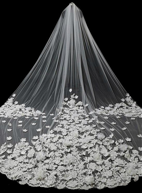 In Stock:Ship in 48 Hours Tulle Wedding Veil With Lace Appliques & Handmade Flowers