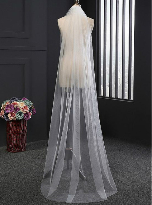 In Stock:Ship in 48 Hours Simple Tulle Long Wedding Veils With Comb
