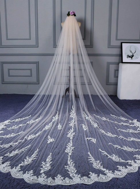 In Stock:Ship in 48 Hours Alluring Tulle Wedding Veil With Lace Appliques