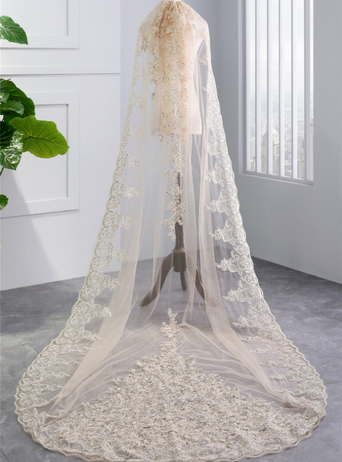 In Stock:Ship in 48 Hours Champagne Wedding Veils With Appliques
