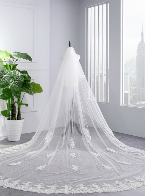 In Stock:Ship in 48 Hours White Tulle Lace Appliques Wedding Veils