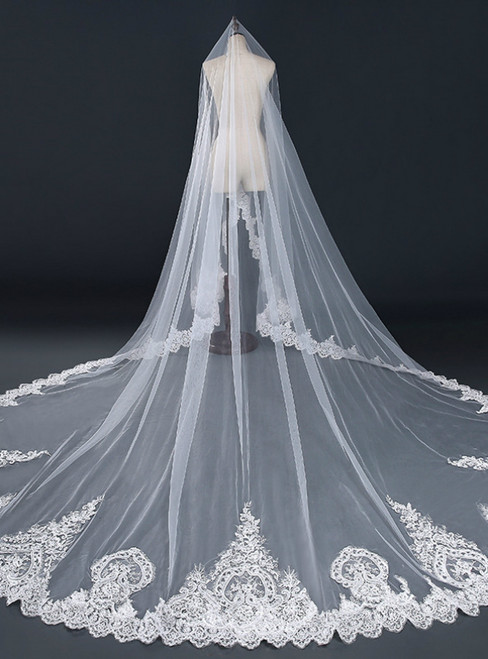 In Stock:Ship in 48 Hours White Tulle Appliques Brides Veils
