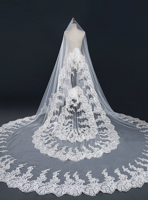 In Stock:Ship in 48 Hours White Tulle Lace Long Wedding Veils