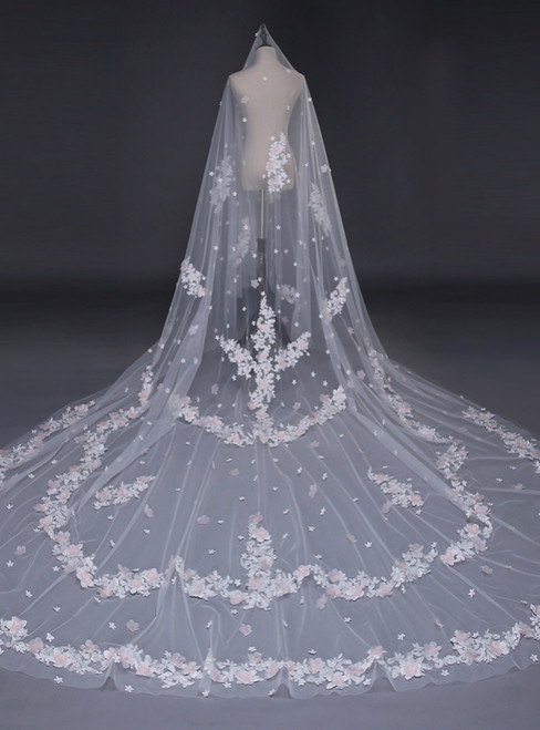 In Stock:Ship in 48 Hours Brides White Tulle Appliques Veils