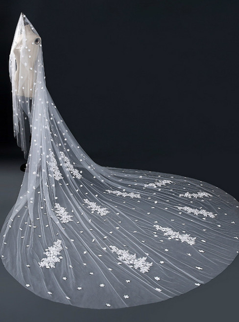 In Stock:Ship in 48 Hours Fashion White Tulle Lace Appliques Wedding Veils