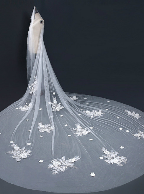 In Stock:Ship in 48 Hours Simple Tulle Appliques Brides Veils
