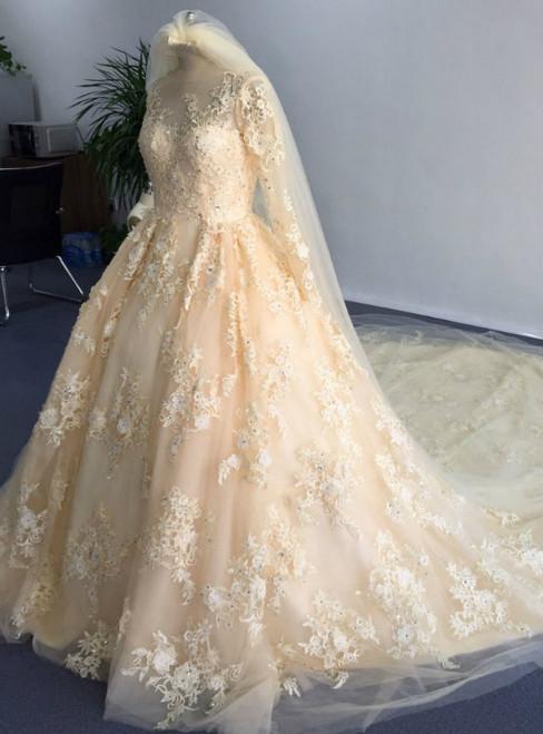 Glamorous O Neck Appliqued Beaded Stunning Long Sleeve Wedding Dress