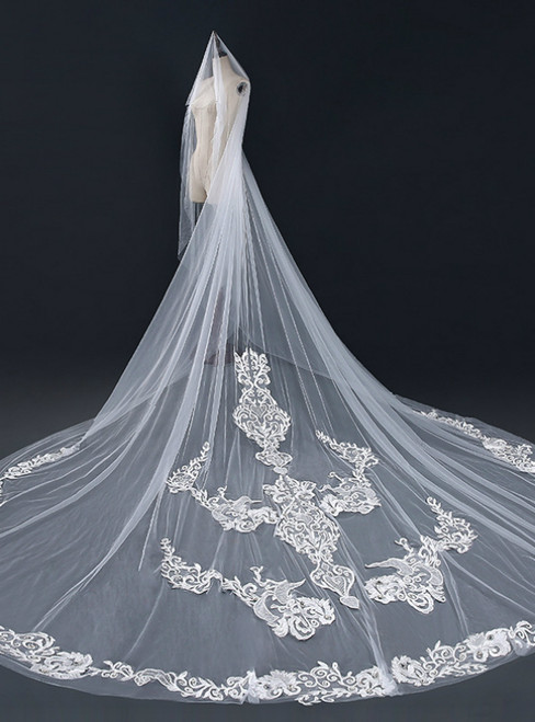 In Stock:Ship in 48 Hours Long White Tulle Appliques Wedding Veils