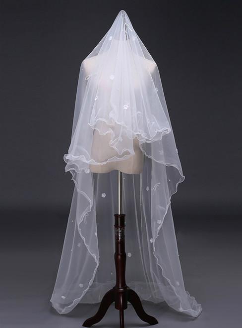 In Stock:Ship in 48 Hours White Tulle Flower Wedding Veils