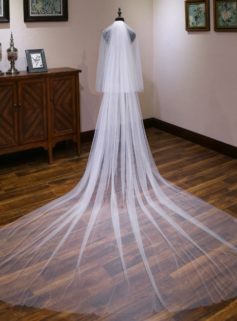 In Stock:Ship in 48 Hours Simple Tulle Long Brides Veils