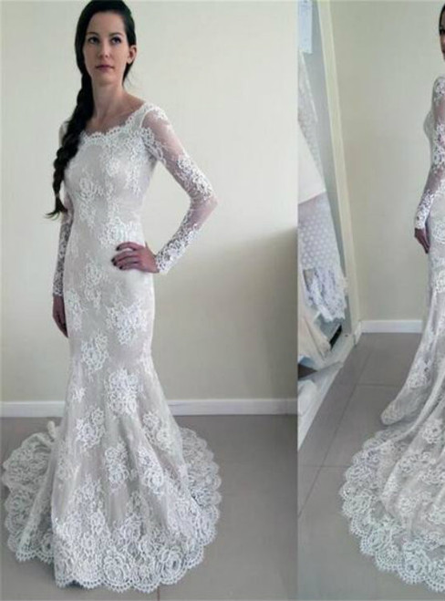 Round Neck Mermaid Lace Long Sleeve Backless See Through Wedding Dress