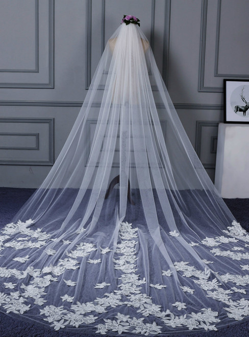 In Stock:Ship in 48 Hours Brides Veils White Tulle Appliques Veils